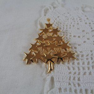 KIRKS FOLLY Gold Tone STAR Christmas TREE BROOCH